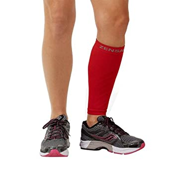 Zensah Calf/Shin Splint Compression Sleeve (singe sleeve), Red, Large/X-Large