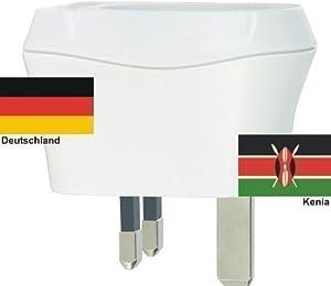 Design Reisestecker Adapter Kenia auf Deutschland, Schukostecker 230V,Umwandlungsstecker KE-D