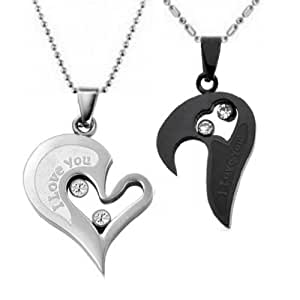 couple stainless steel necklace sets i love you heart
