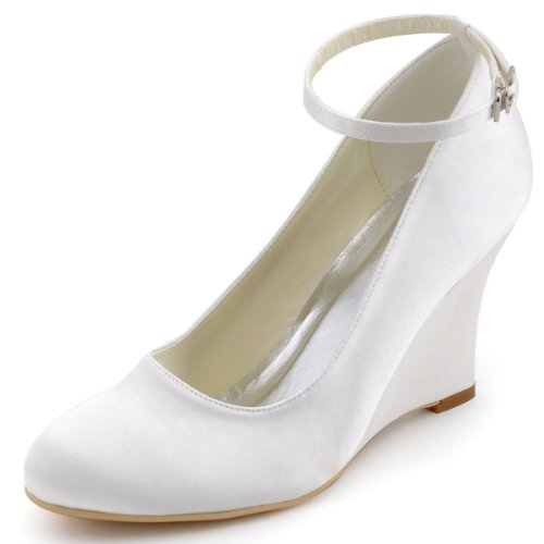 ElegantPark A610 Women's Closed Toe Wedge High Heel Ankle Strap Buckle Satin Wedding Bridal Shoes White US 10