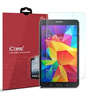 iCarez® [HD Clear] Highest Quality Premium Screen Protector for Samsung Galaxy Tab 4 8.0 High Definition (HD) Ultra Crystal Clear & anti-bacterial & anti-Scratch & bubble-free & reduce fingerprint & No rainbow & washable Screen Protector **PET Film Made