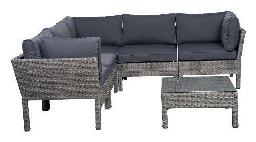 Atlantic 6-Piece Infinity Wicker Seating Set with Grey Cushions image