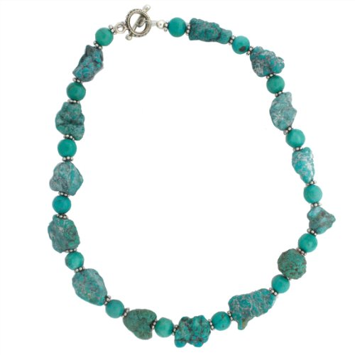 Sterling Silver 16 Inch Freeform Turquoise Stone and Bead Necklace
