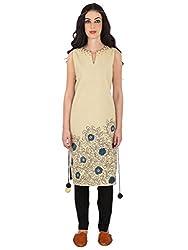 Beige Hand Painted Kalamkari Cotton Tunic