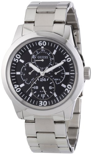 Guess Men's Quartz Watch with Black Dial Analogue Display and Silver Stainless Steel Strap W11562G3