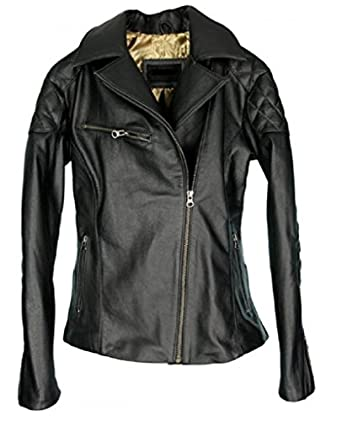 DashX ROCKER Lambskin Leather Jacket Black at Amazon Women's