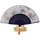 Banggood Chinese Japanese Oriental Fold Bamboo Silk Flower Pattern Hand Pocket Fan