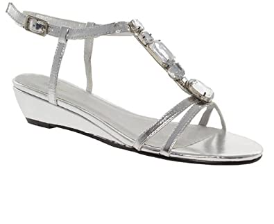 Barratts Womens Silver Low Heel T Bar Jewel Trim Open Toe Wedge Sandals Amazoncouk Shoes Amp Bags