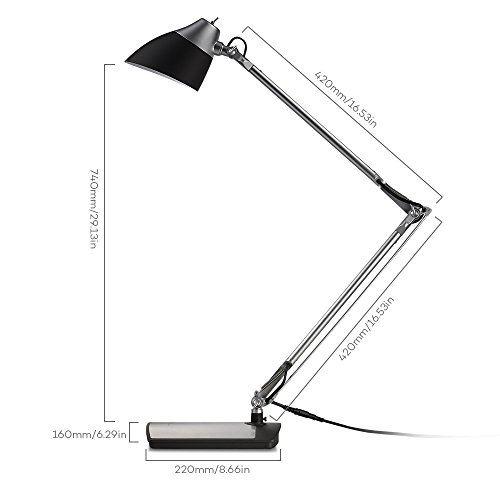 taotronics metal desk lamp led flexible arm rotatable home design aluminum table lamp with pleated fabric shade