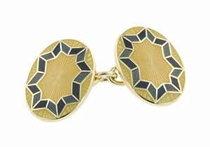 Handmade 18kt yellow gold and enamel chain link cufflinks