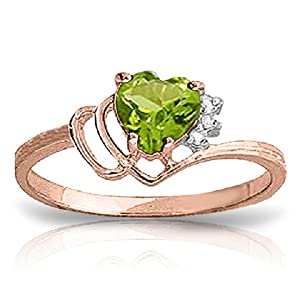 14k Rose Gold Ring with Natural Diamonds and Peridot - Size 8.5