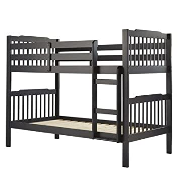 Sauganash Standard Twin over Twin Bunk Bed, Vulcan Black
