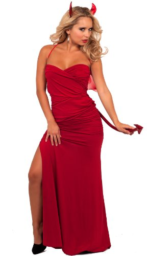 Strapless Sweetheart Side Slit Maxi Sexy Red Devil Halloween Costume Party S M L