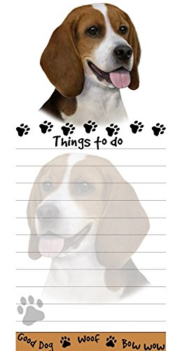 Beagle Magnetic List Pad-Shaped Sticky Notepad Measures 8.5 by 3.5 Inches