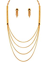 JFL - Traditional Ethnic Multi Strand One Gram Gold Plated Designer Necklace Set With Earring For Girls And Women