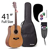Acoustic Guitar Bundle Dreadnought Series by Hola! Music with D'Addario EXP16 Steel Strings, Padded Gig Bag, Guitar Strap and Picks, Full Size 41 Inch (Model HG-41N), Natural Satin Finish