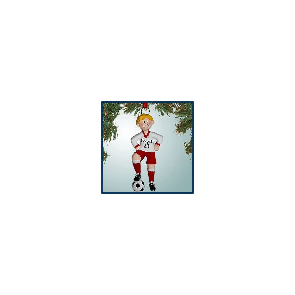 Personalized Christmas Ornaments   Soccer Boy Red   Blonde