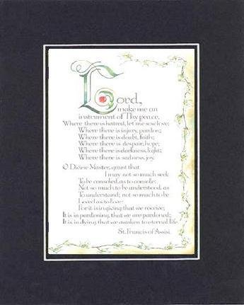 Lord Makes Me An Instrument Of They Peace , St. Francis Of Assisi . . . 8 X 10 Inches Biblical/Religious Verses Set In Double Beveled Matting (Black On Black) - A Timeless And Priceless Poetry Keepsake Collection front-754719