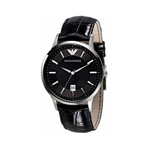 Emporio Armani Men's AR2411 Black Dial Black Leather Watch