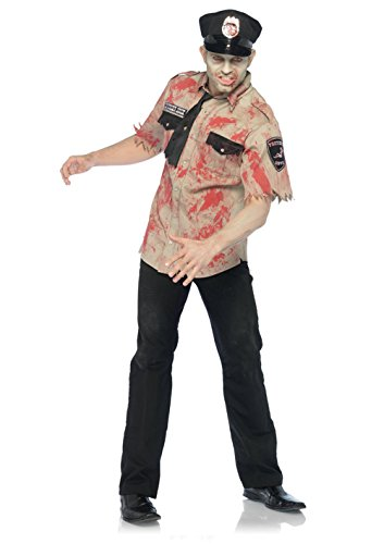 Mens Leg Avenue 83889 3Pc Deputy Dead, Bloody Uniform Shirt, Tie, Cop Hat Costumes
