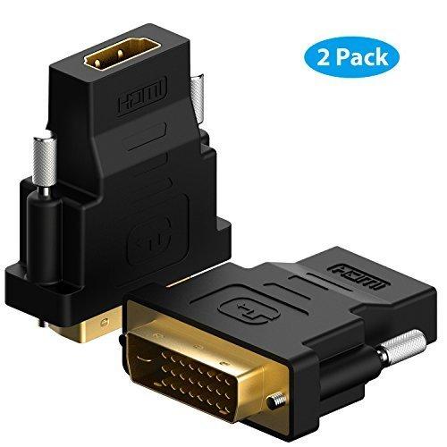 DVI su HDMI, Rankie 2 Pack Placcato Oro DVI su HDMI HDTV Maschio a Femmina Adattatore Convertitore