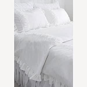 Shabby and Vintage Style White Ruffle Duvet Bedding Set-queen
