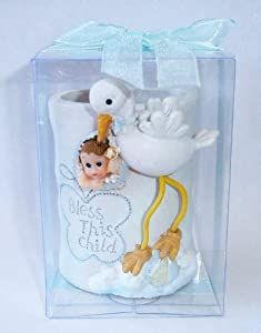 """Baby Keepsake: Set of 12 """"Boy"""" Baby with Stork Holder Gift Boxed Party Favors CB091W-BL"""