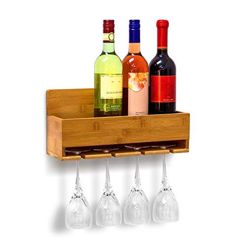 Relaxdays-Weinregal-mit-Glashalter-H-x-B-x-T-ca-17-x-37-x-115-cm-Flaschenregal-aus-Bambus-mit-Platz-fr-4-Flaschen-und-4-Glser-zur-Wandmontage-Hngeregal-Holz-als-Weinflaschenhalter-Ablage-natur