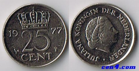 1977 Netherlands 25 Cents Coin - 1
