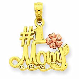 14k Two-Tone Polished #1 Mom with Flower Pendant