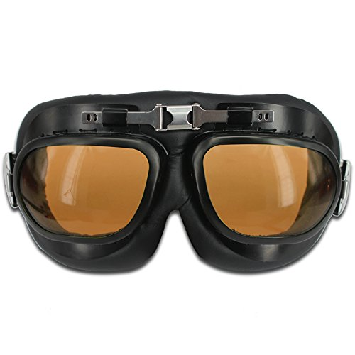 HAMIST Vintage Motorcycle Goggles Smoke & Skull Face Mask Black,Set For Cycling Multi-Purpose Seamless Tube Masks With Windproof Aviator Glasses 2