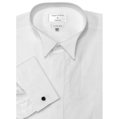 Mens Wing Collar Cotton Rich Formal Dress Shirt White with Double Cuff