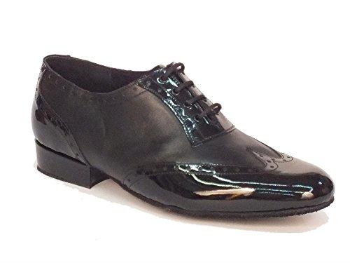 Scarpa da ballo per uomo in nappa e verniciato nero tacco 2cm (Taglia 45)