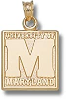Maryland Terrapins Square M with University of Maryland Pendant - 14KT Gold Jewelry by Logo Art
