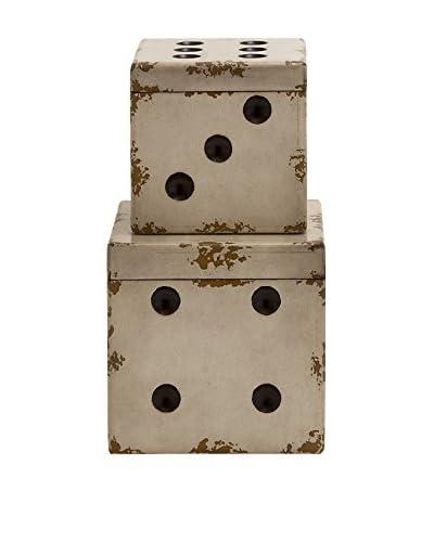 Set of 2 Dice Box, Cream/Black