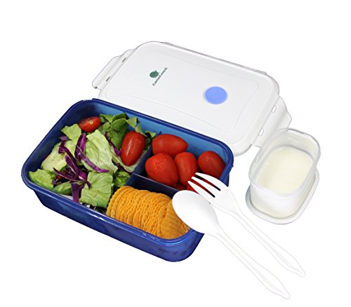 CameLunch Bento Lunch Box - 3-Compartment 1-Bowl with Spoon & Fork - 1000ml 34 oz Fits for Adults & Kids - Leakproof Plastic Food Storage Containers (Blue)
