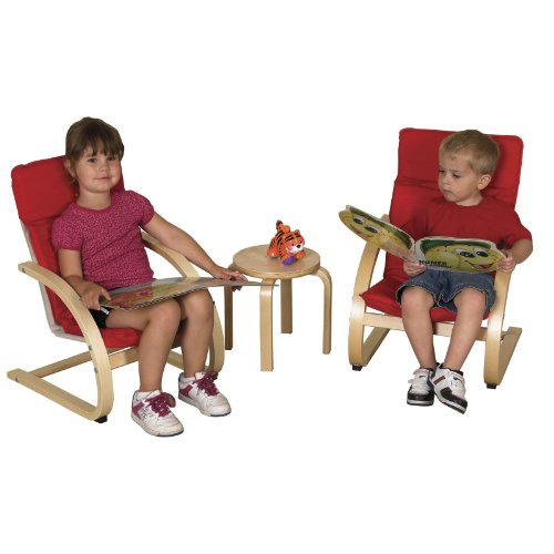 ECR4Kids Comfort Chairs and Table Set, 3 Pieces, Red