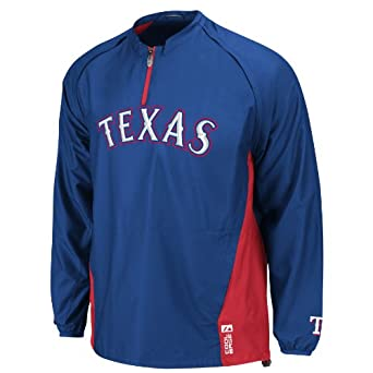 MLB Texas Rangers Long Sleeve 1 4 Zip V-Neck Gamer Jacket by Majestic