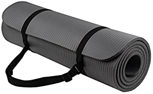 BalanceFrom GoYoga All-Purpose 1/2-Inch Extra Thick High Density Anti-Tear Exercise Yoga Mat with Carrying Strap (Gray).