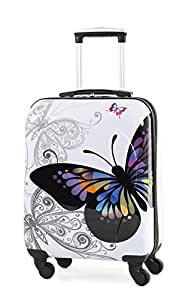 Rock Miro Printed Hardshell 55cm Ryanair Compliant Four Wheel Spinner Case in Butterfly Print