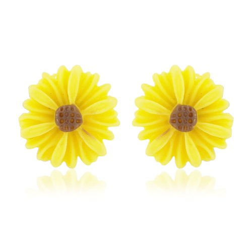 Yellow flower earrings - perfect daisy earrings for women and children - also available in pink - includes gift bag
