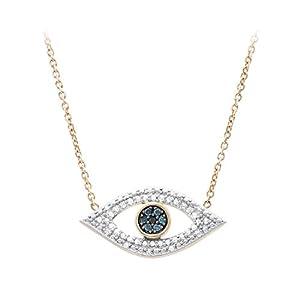 1/6 ct. tw. Diamond Evil Eye Pendant in 10K Yellow Gold