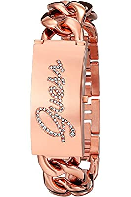GUESS W0321L3 Women's Rose Gold-Tone ID Bracelet Watch with Self-Adjustable Bracelet by Guess