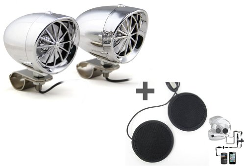"""White 3"""" Harley Speaker Amplifier & Bluetooth+In-Helmet Smartphone Stereo Headsets With Ptt Button"""