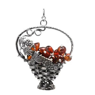 Sterling Silver Amber Grapes Basket Pendant