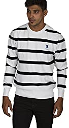 US POLO ASSOCIATION Men's Poly Cotton Sweater (USSW0430_White_Small)
