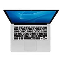 KB Covers Large Type Keyboard Cover for MacBook, MacBook Air 13 inch, and MacBook Pro (Unibody) - Clear w/ Black Buttons