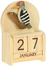 Pájaro carpintero : Hechos a mano calendario perpetuo de madera. Diversión peculiar de Navidad o idea del regalo de cumpleaños. Presente Comercio Justo (tamaño 10,5 x 7 x 3,5 cm)