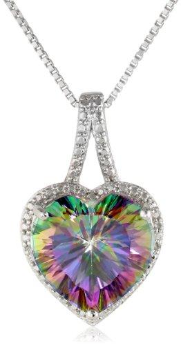 Imagen de Plata esterlina fuego místico Topacio y con acento diamante corazón colgante, collar, 18