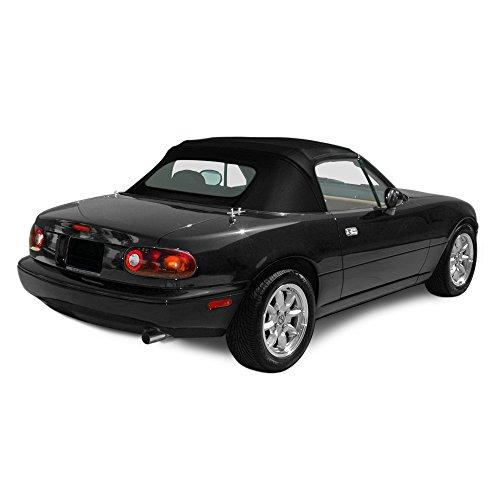 Mazda Miata, 1990-1997 Cabrio Vinyl Complete Convertible Top Replacement with Clear Plastic Window with Rain Rail, Black (Miata Rain Rail compare prices)